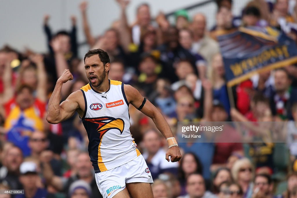 Josh Hill of the Eagles celebrates a goal during the round 20 AFL match between the Fremantle Dockers and the West Coast Eagles at Domain Stadium on August 16, 2015 in Perth, Australia.