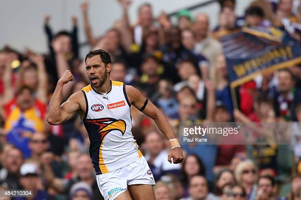Josh Hill of the Eagles celebrates a goal during the round 20 AFL match between the Fremantle Dockers and the West Coast Eagles at Domain Stadium on...