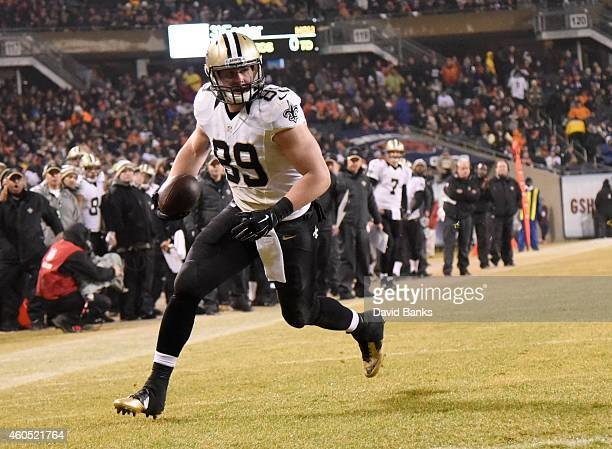 Josh Hill of the New Orleans Saints runs in a touchdown during the third quarter of their game against the Chicago Bears at Soldier Field on December...