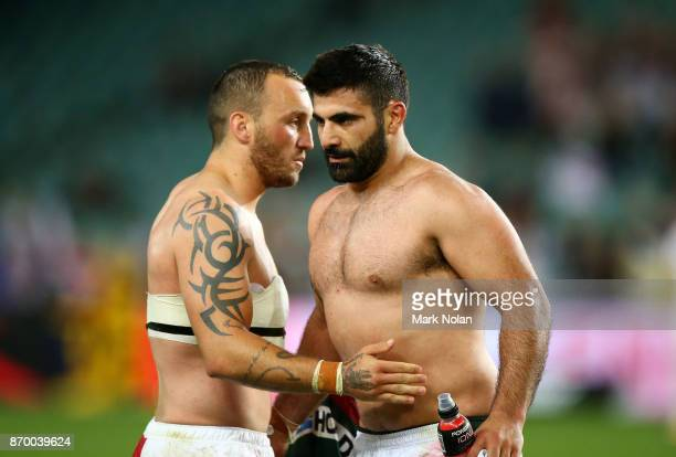 Josh Hodgson of England and Nick Kassis of Lebanon exchange jumpers after the 2017 Rugby League World Cup match between England and Lebanon at...