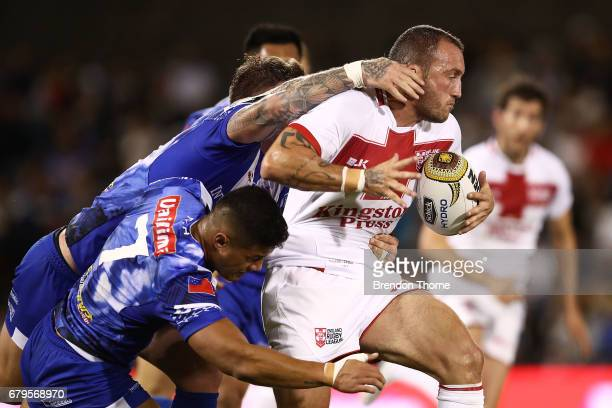 Josh Hodgson of England runs the ball during the 2017 Pacific Test Invitational match between England and Samoa at Campbelltown Sports Stadium on May...