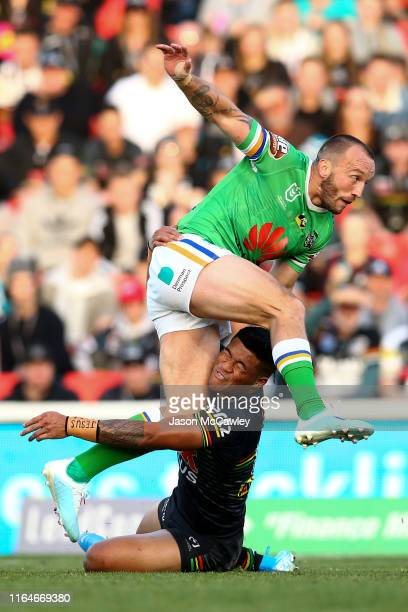 Josh Hodgson of the Raiders kicks during the round 19 NRL match between the Panthers and Raiders at Panthers Stadium on July 28, 2019 in Penrith,...