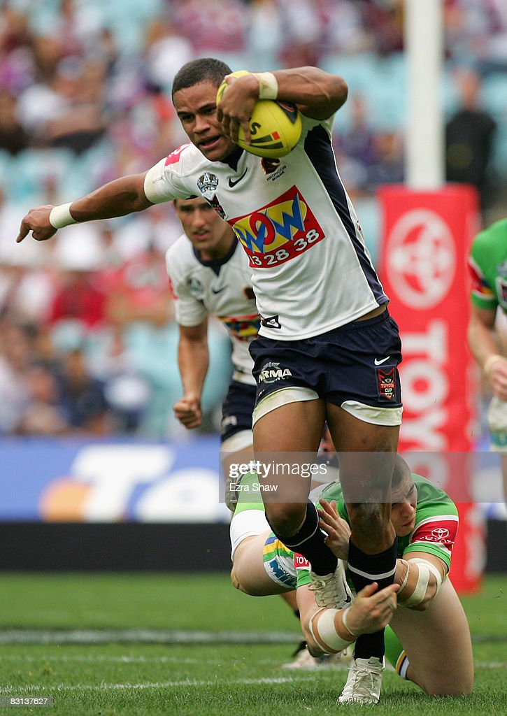 Josh Hoffman of the Broncos is tackled during the Under 20's Toyota Cup Final match between the Canberra Raiders and the Brisbane Broncos at ANZ Stadium on October 5, 2008 in Sydney, Australia.
