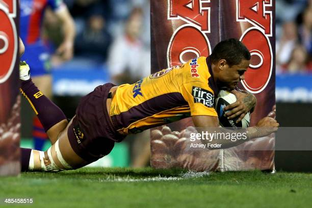Josh Hoffman of the Broncos scores a try during the round seven NRL match between the Newcastle Knights and the Brisbane Broncos at Hunter Stadium on...