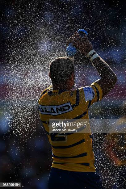 Josh Hoffman of the Eels cools down during the round two NRL match between the Manly Sea Eagles and the Parramatta Eels at Lottoland on March 18 2018...