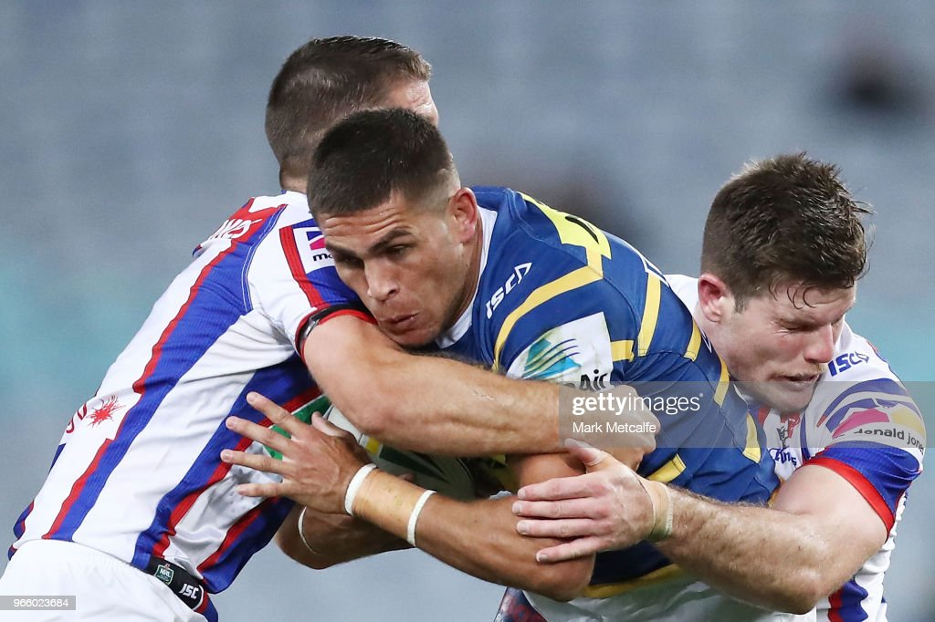 Josh Hoffman of the Eels is tackled during the round 13 NRL match between the Parramatta Eels and the Newcastle Knights at ANZ Stadium on June 2, 2018 in Sydney, Australia.