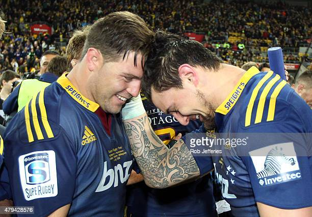 Josh Hohneck and Elliot Dixon of the Highlanders celebrate victory in the Super Rugby Final match between the Hurricanes and the Highlanders at...