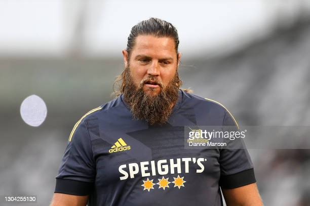 Josh Hohneck of the Highlanders warms up prior to during the round one Super Rugby Aotearoa match between the Highlanders and the Crusaders at...