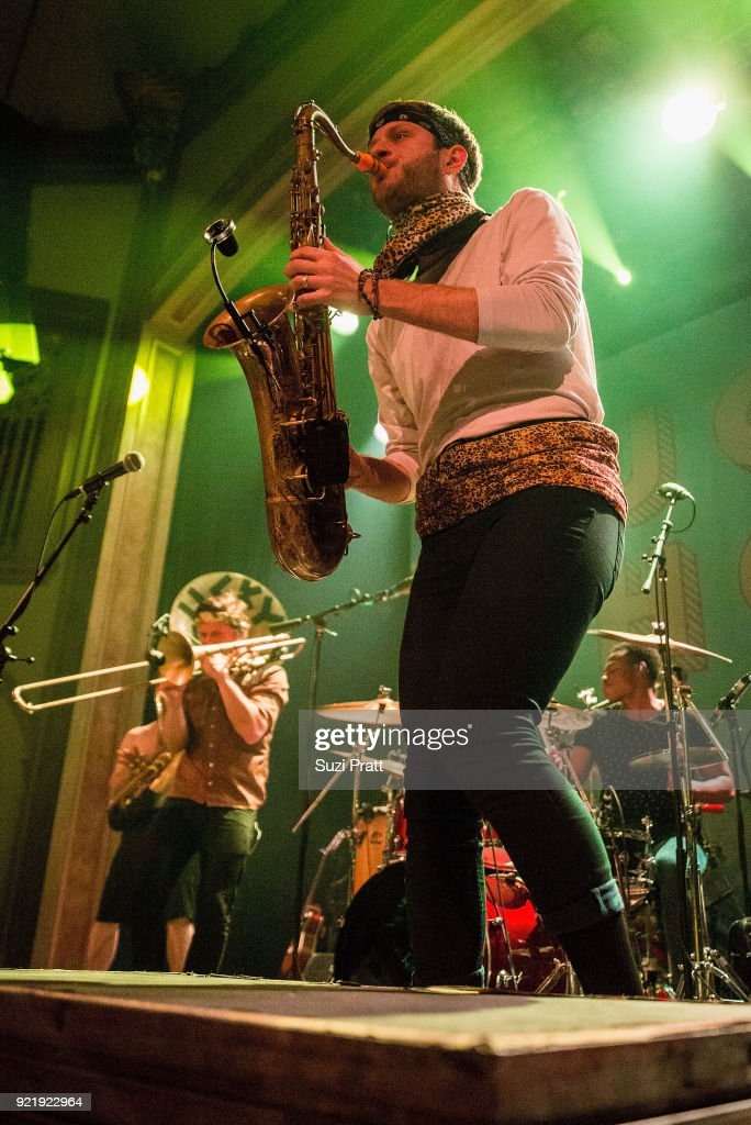 Josh Holcomb and Daro Behroozi of Lucky Chops perform at Neptune Theatre on February 20, 2018 in Seattle, Washington.
