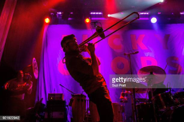 Josh Holcomb of Lucky Chops performs at Neptune Theatre on February 20 2018 in Seattle Washington