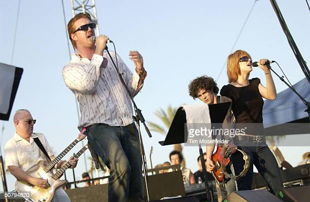 Josh Homme and Brody Armstrong of the Desert Sessions performing at the Coachella Music and Arts Festival May 1 2004 at the Empire Polo Grounds in...