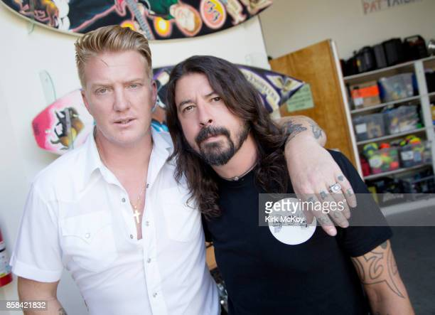Josh Homme and Dave Grohl are photographed at the Foo Fighters' studio for Los Angeles Times on October 1 2017 in Los Angeles California PUBLISHED...