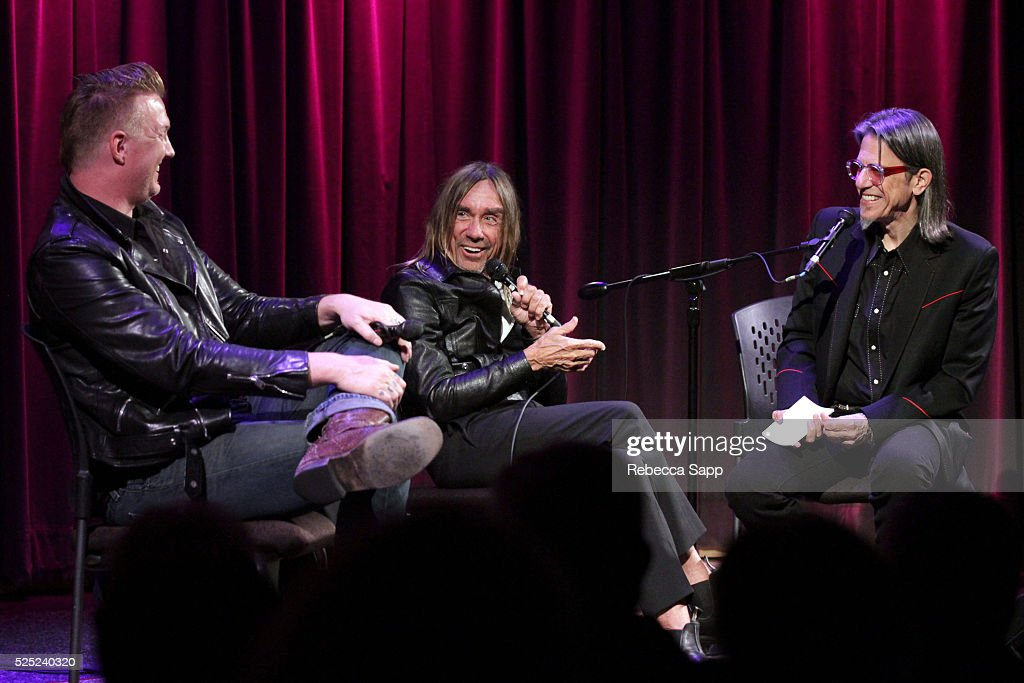 Josh Homme and Iggy Pop speak with Vice President of the GRAMMY Foundation Scott Goldman at A Conversation With Iggy Pop And Josh Homme at The GRAMMY Museum on April 27, 2016 in Los Angeles, California.
