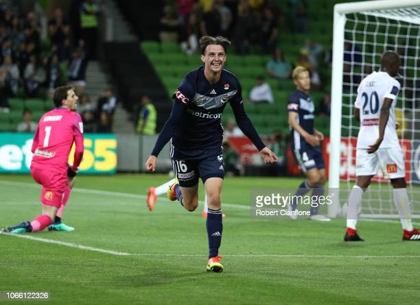 Josh Hope of the Victory celebrates after scoring a goal during the round four ALeague match between the Melbourne Victory and the Central Coast...