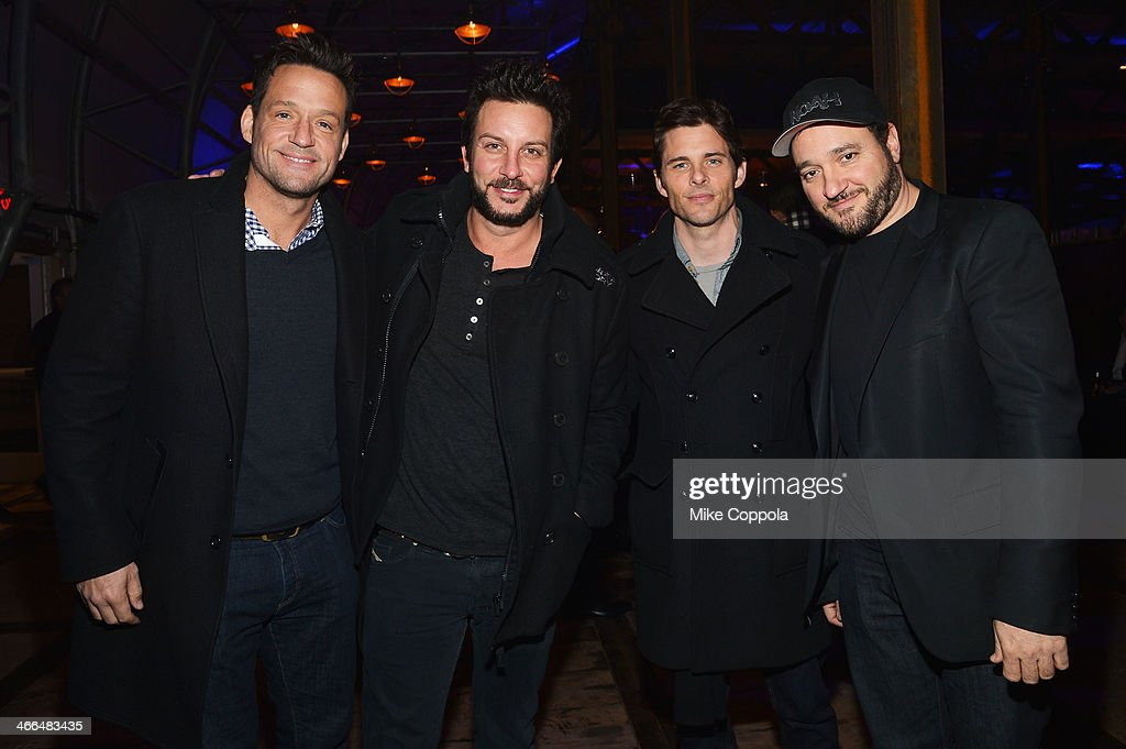 Josh Hopkins, Tommy Alastra, James Marsden and Greg Bellow attend the DirecTV Super Saturday Night at Pier 40 on February 1, 2014 in New York City.