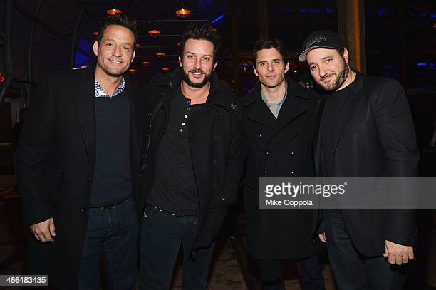 Josh Hopkins Tommy Alastra James Marsden and Greg Bellow attend the DirecTV Super Saturday Night at Pier 40 on February 1 2014 in New York City
