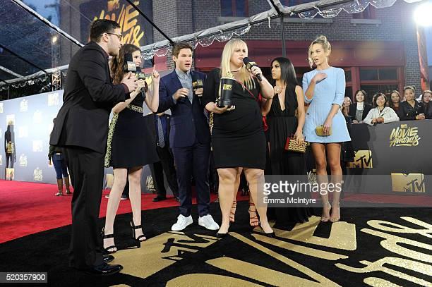 Josh Horowitz interviews actress Anna Kendrick actor Adam DeVine actress Rebel Wilson actress Chrissie Fit and actress Kelley Jakle during the 2016...