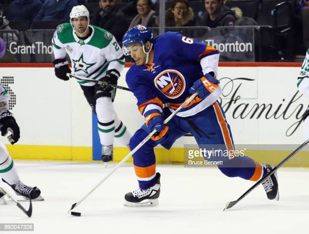 Josh HoSang of the New York Islanders skates against the Dallas Stars at the Barclays Center on December 13 2017 in the Brooklyn borough of New York...
