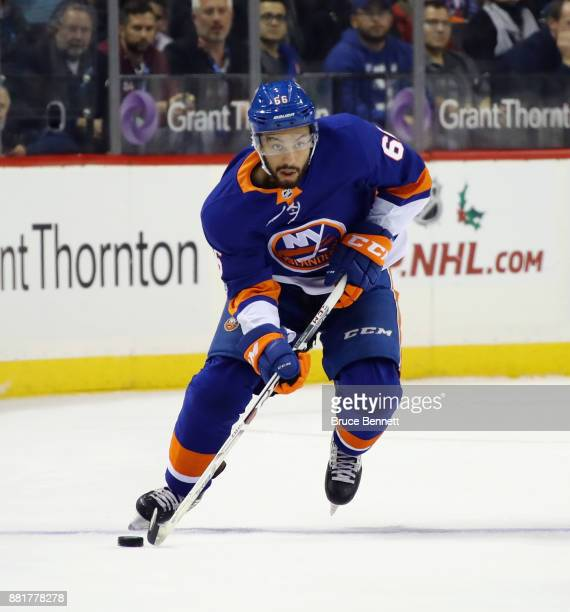 Josh HoSang of the New York Islanders skates against the Vancouver Canucks at the Barclays Center on November 28 2017 in the Brooklyn borough of New...