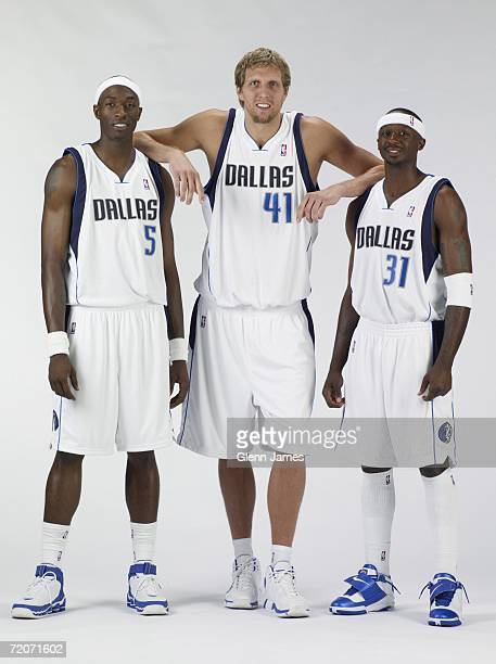 Josh Howard Dirk Nowitzki and Jason Terry of the Dallas Mavericks pose for a portrait during media day at the American Airlines Center October 2 2006...