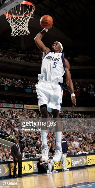 Josh Howard of the Dallas Mavericks dunks the ball against the Milwaukee Bucks on March 28 2007 at the American Airlines Center in Dallas Texas NOTE...
