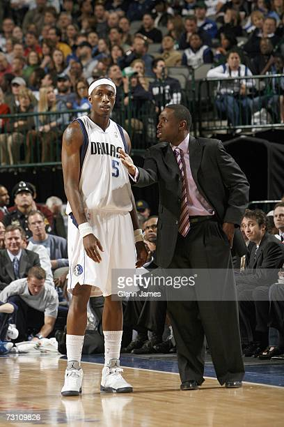 Josh Howard of the Dallas Mavericks listens to head coach Avery Johnson during the game against the Portland Trail Blazers on January 10 2007 at the...