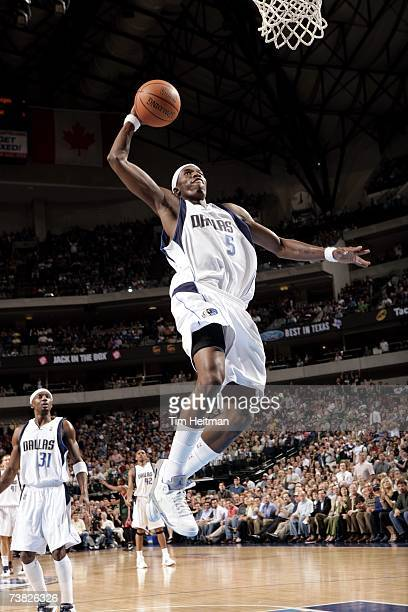 Josh Howard of the Dallas Mavericks shoots goes for a dunk against the Milwaukee Bucks during the game at American Airlines Center on March 28 2007...