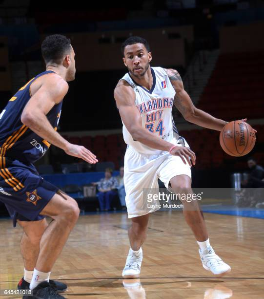 Josh Huestis of the Oklahoma City Blue drives the ball against the Salt Lake City Stars during an NBA DLeague game on February 25 2017 at the Cox...
