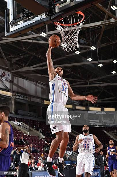 Josh Huestis of the Oklahoma City Blue dunks the ball during the game against the Northern Arizona Suns as part of 2017 NBA DLeague Showcase at the...