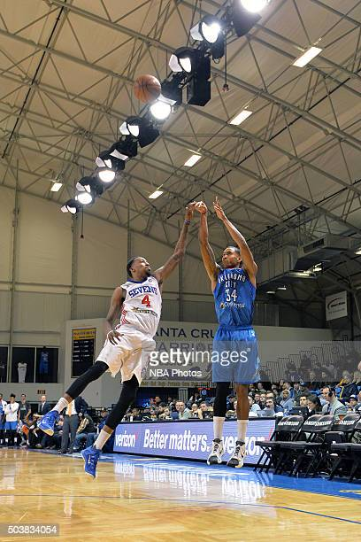 Josh Huestis of the Oklahoma City Blue shoots the ball over Jordan McRae of the Delaware 87ers at Kaiser Permanente Arena in Santa Cruz California...