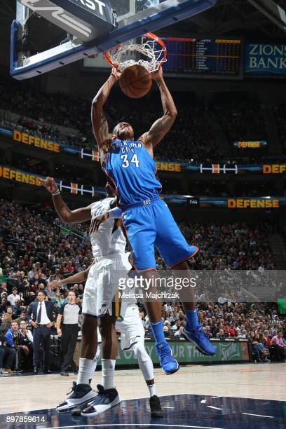 Josh Huestis of the Oklahoma City Thunder dunks against the Utah Jazz on December 23 2017 at vivintSmartHome Arena in Salt Lake City Utah NOTE TO...