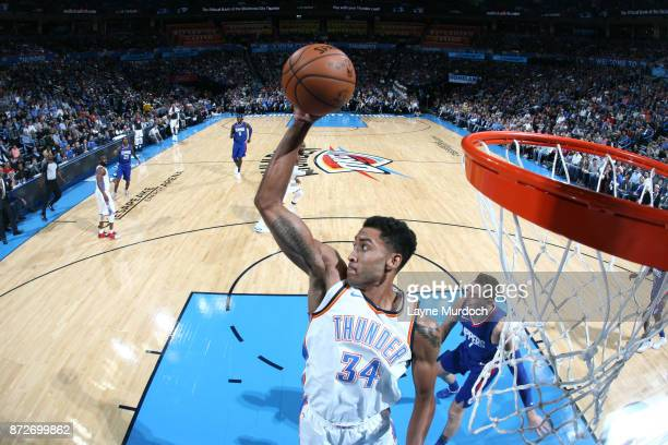 Josh Huestis of the Oklahoma City Thunder grabs the rebound against the LA Clippers on November 10 2017 at Chesapeake Energy Arena in Oklahoma City...