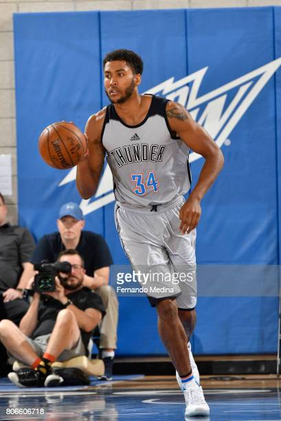 Josh Huestis of the Oklahoma City Thunder handles the ball against the New York Knicks on July 3 2017 during the 2017 Summer League at Amway Center...