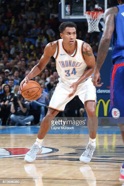 Josh Huestis of the Oklahoma City Thunder handles the ball against the LA Clippers on November 10 2017 at Chesapeake Energy Arena in Oklahoma City...