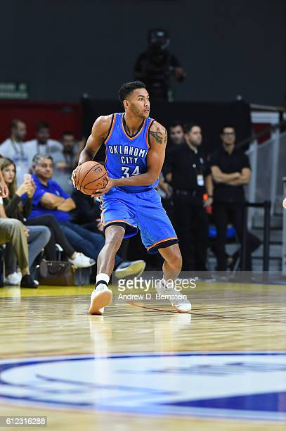Josh Huestis of the Oklahoma City Thunder looks to pass against Real Madrid as part of the 2016 Global Games on October 3 2016 at the Barclaycard...