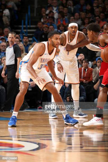Josh Huestis of the Oklahoma City Thunder on the defense against the Toronto Raptors on December 27 2017 at Chesapeake Energy Arena in Oklahoma City...