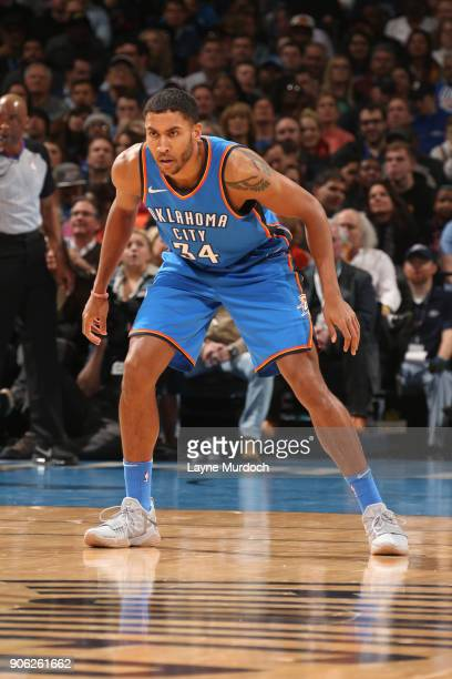 Josh Huestis of the Oklahoma City Thunder posts up during the game against the Los Angeles Lakers on January 17 2018 at Chesapeake Energy Arena in...