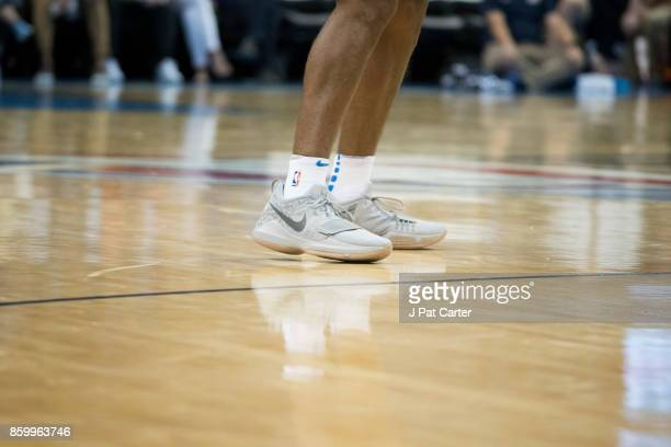 Josh Huestis of the Oklahoma City Thunder shoes are seen during the first half of a NBA preseason game at the Chesapeake Energy Arena on October 8...