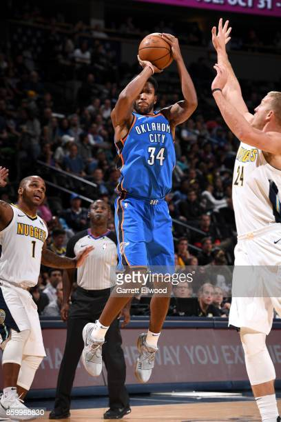 Josh Huestis of the Oklahoma City Thunder shoots the ball against the Denver Nuggets on October 10 2017 at the Pepsi Center in Denver Colorado NOTE...