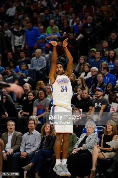 Josh Huestis of the Oklahoma City Thunder shoots the ball against the Minnesota Timberwolves during the game on October 27 2017 at the Target Center...