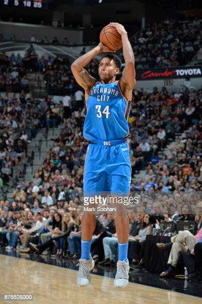 Josh Huestis of the Oklahoma City Thunder shoots the three against the San Antonio Spurs on November 17 2017 at the ATT Center in San Antonio Texas...