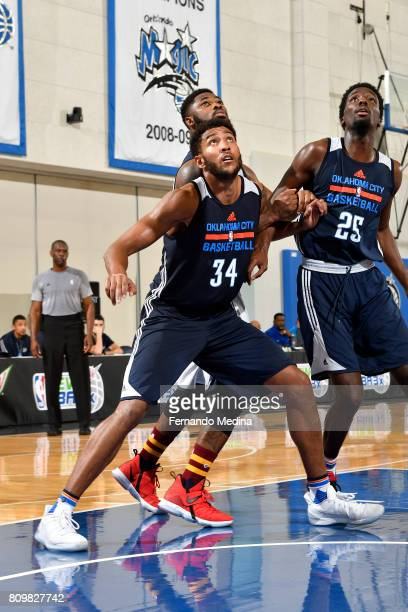 Josh Huestis of the Oklahoma City Thunder waits for a rebound against the Indiana Pacers during the Mountain Dew Orlando Pro Summer League on July 6...