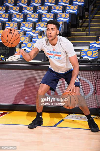 Josh Huestis of the Oklahoma City Thunder warms up before the game against the Golden State Warriors on November 3 2016 at ORACLE Arena in Oakland...