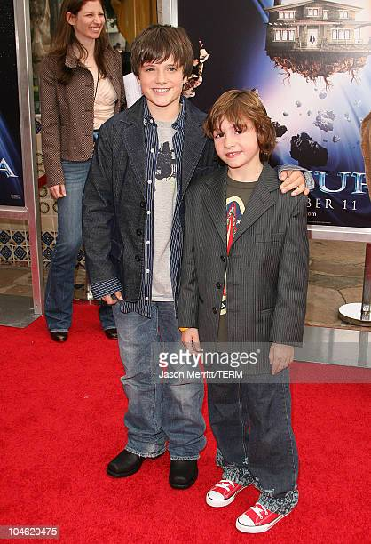 Josh Hutcherson and Jonah Bobo during Zathura Los Angeles Premiere Arrivals at Mann's Village Theatre in Westwood California United States