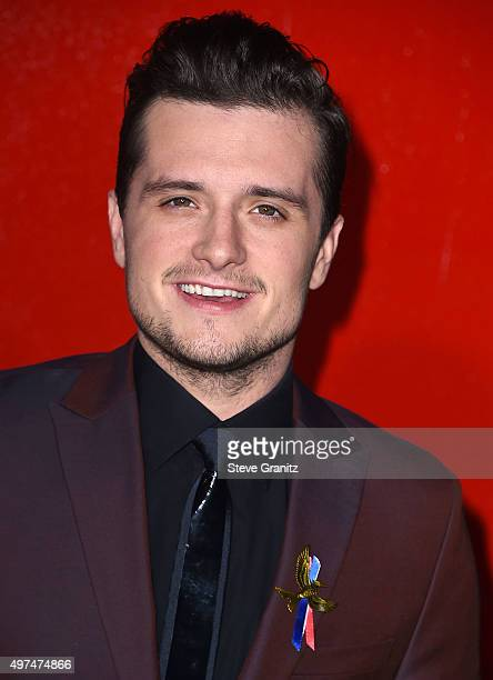 Josh Hutcherson arrives at the Premiere Of Lionsgate's 'The Hunger Games Mockingjay Part 2' at Microsoft Theater on November 16 2015 in Los Angeles...