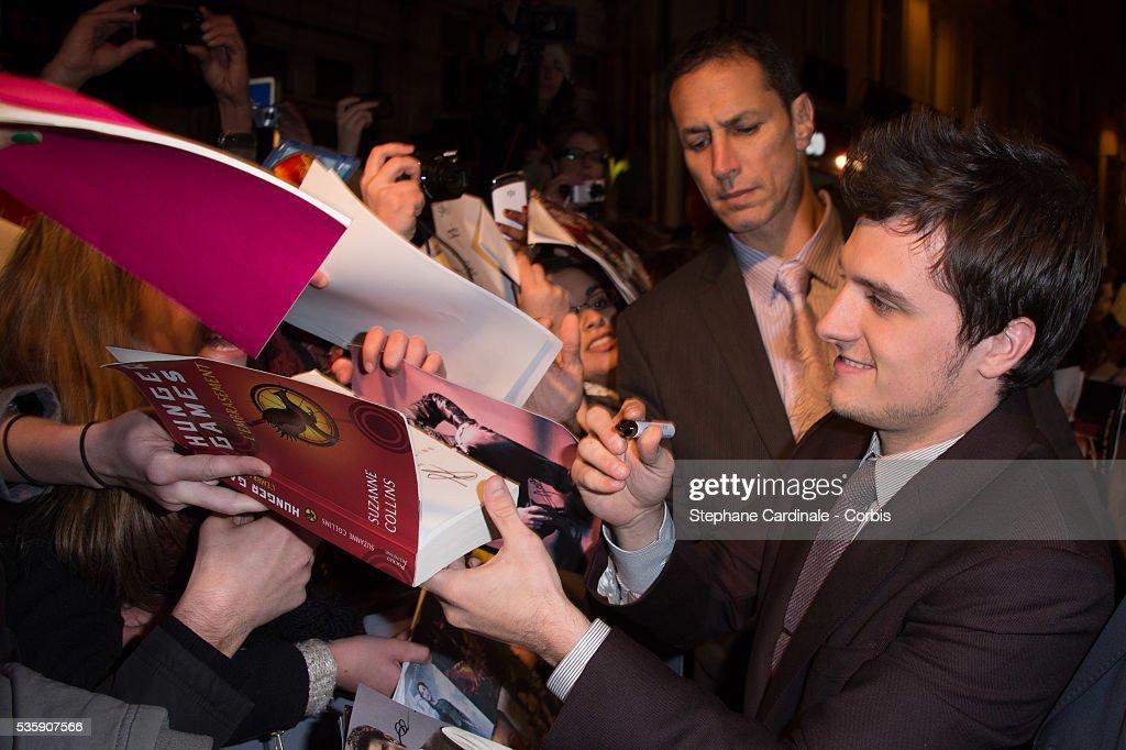 Josh Hutcherson attends 'The Hunger Games: Catching Fire' Paris Premiere at Le Grand Rex, in Paris.