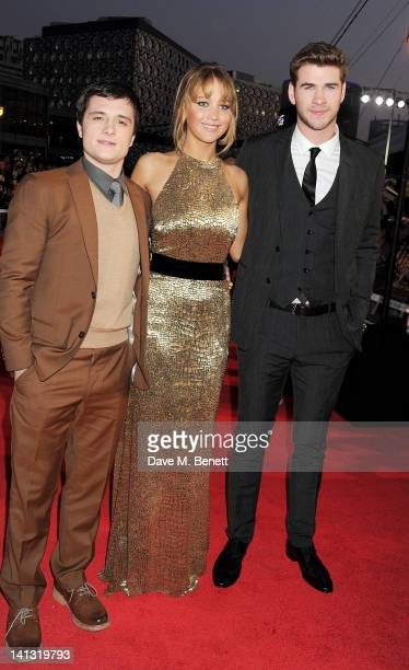 Josh Hutcherson Jennifer Lawrence and Liam Hemsworth arrive at the European Premiere of 'The Hunger Games' at the O2 Arena on March 14 2012 in London...