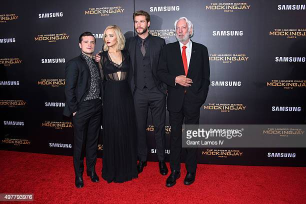 Josh Hutcherson Jennifer Lawrence Liam Hemsworth and Donald Sutherland attend 'The Hunger Games Mockingjay Part 2' premiere at AMC Loews Lincoln...