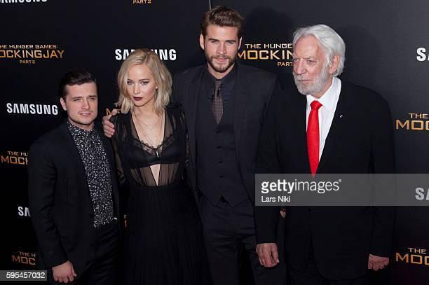 "Josh Hutcherson, Jennifer Lawrence, Liam Hemsworth and Donald Sutherland attend ""The Hunger Games: Mockingjay- Part 2"" New York Premiere AMC Loews..."