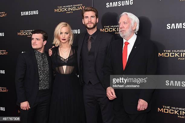 Josh Hutcherson Jennifer Lawrence Liam Hemsworth and Donald Sutherland atttend The Hunger Games Mockingjay Part 2 New York Premiere at AMC Loews...